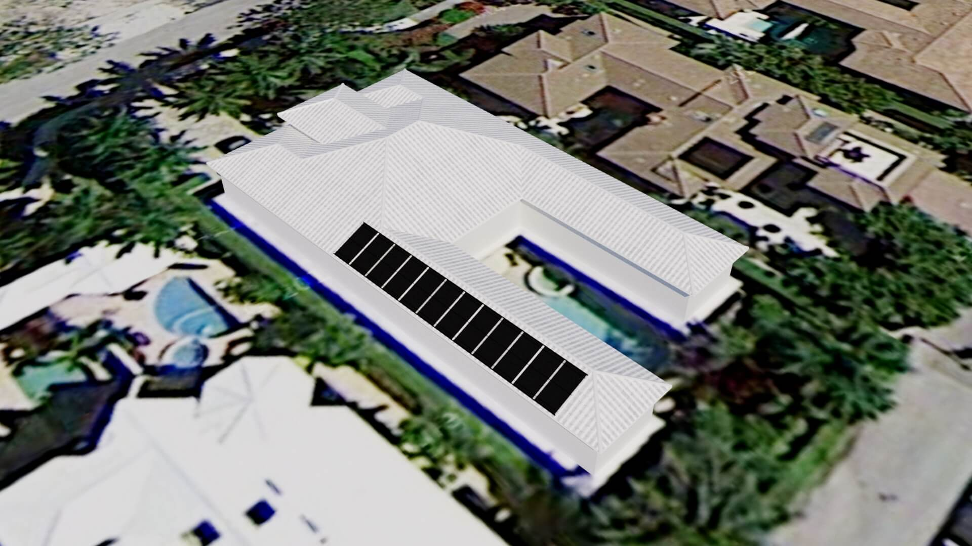 Naples Solar Pool Heating System on Long Roof with Short Panels