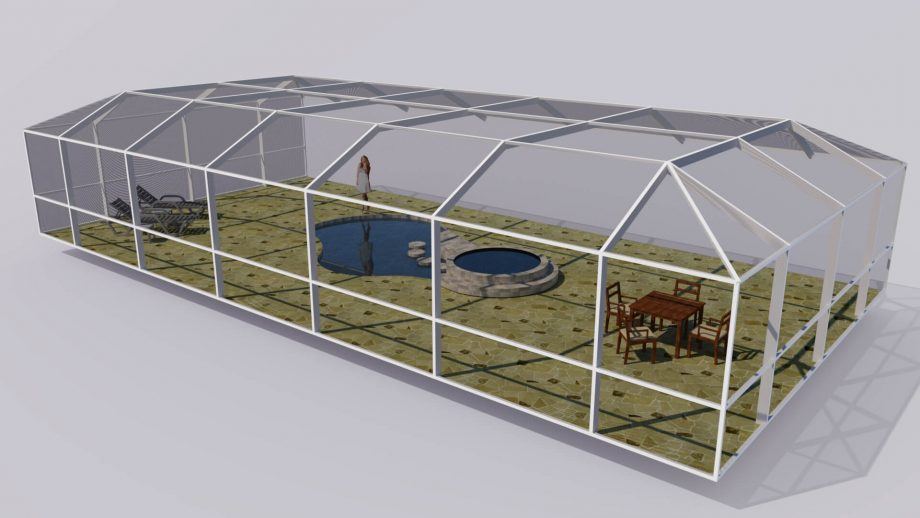 Screened Aluminum Pool Enclosure 3D Computer Model