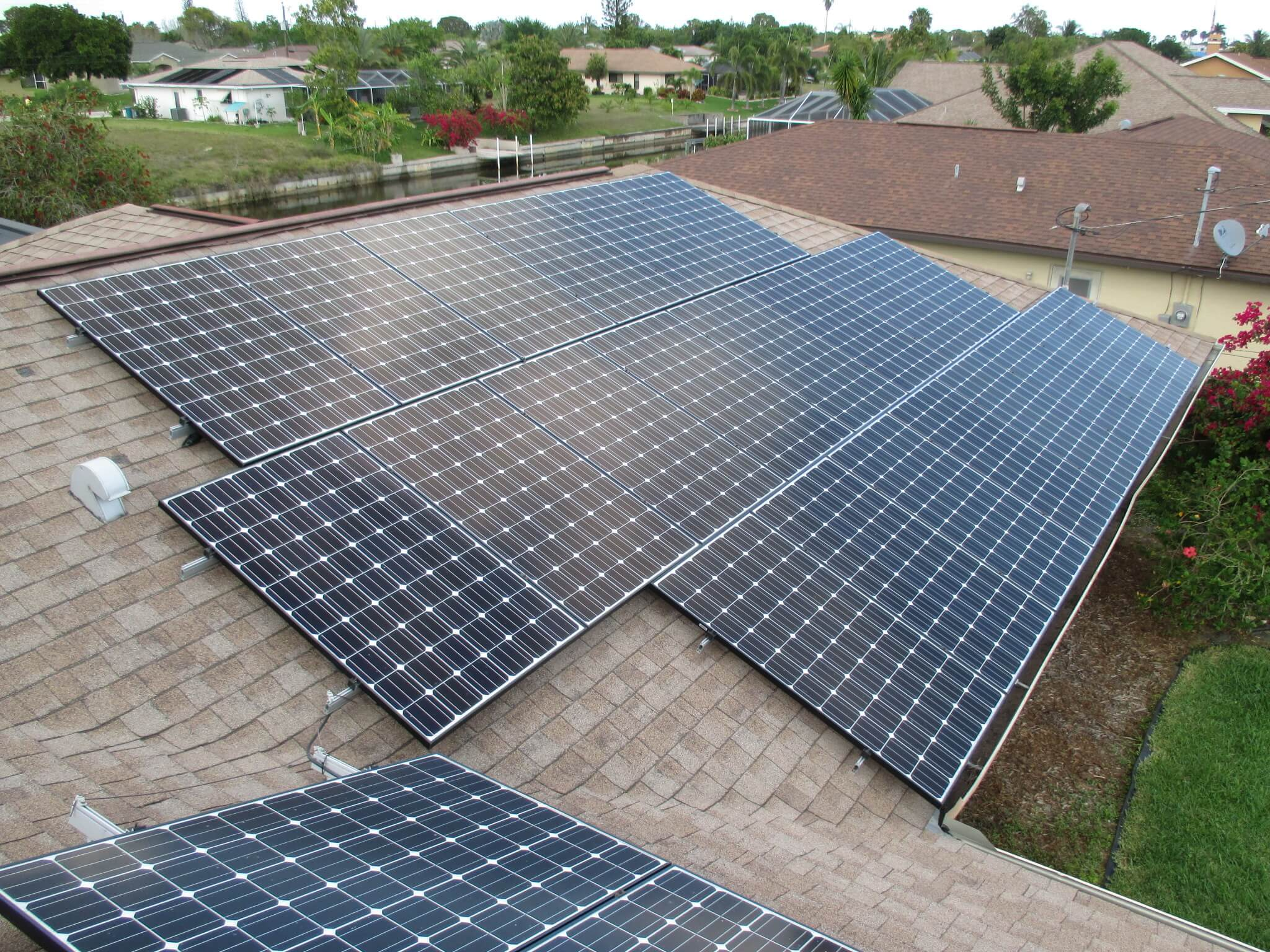 A Cape Coral, FL solar photovoltaic system at viewed from the roof.