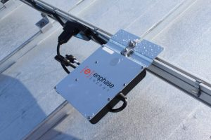 Enphase Microinverter Mounted on Solar Rail