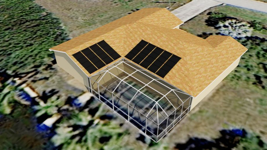 Cape Coral, FL Solar Pool Heating System Design Above Pool Cage