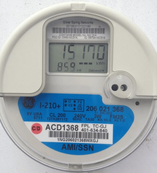 This meter shows that the customer has delivered 15,170 kWh to the utility grid since it was installed.