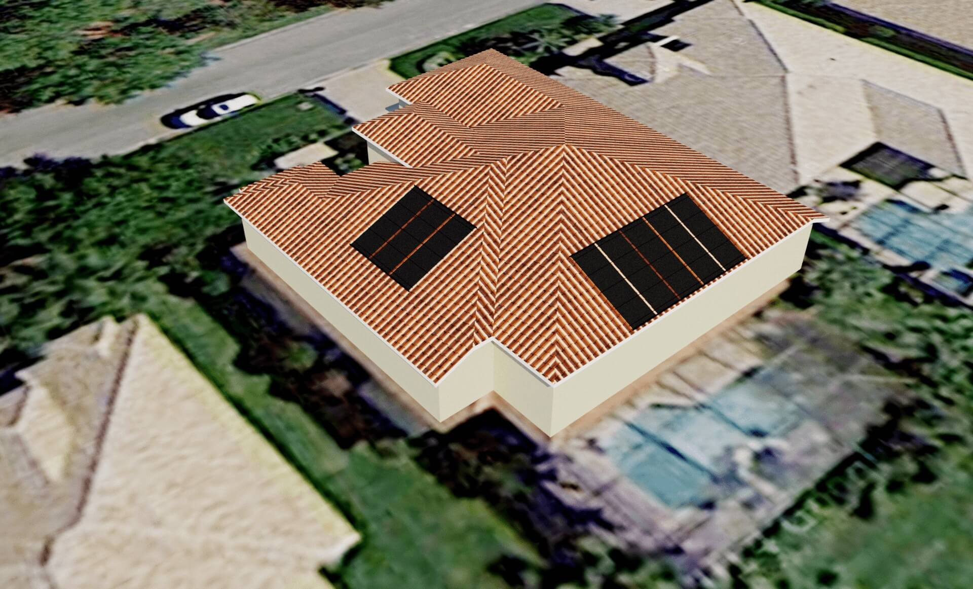 Bonita Springs Solar Pool Heating Panels On Tile Hip Roof