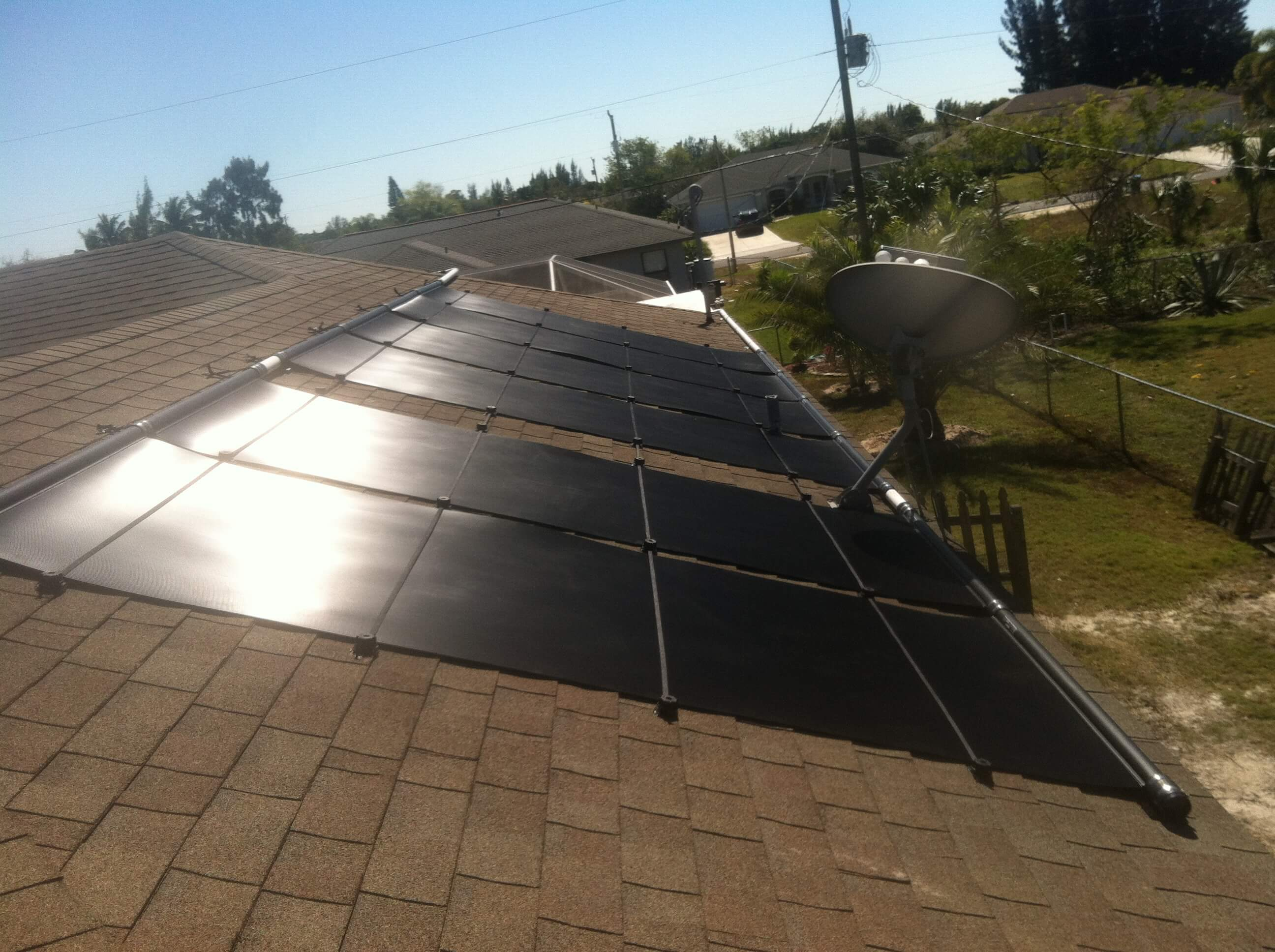 Solar Pool Heater On Roof With Obstruction In Cape Coral Fl