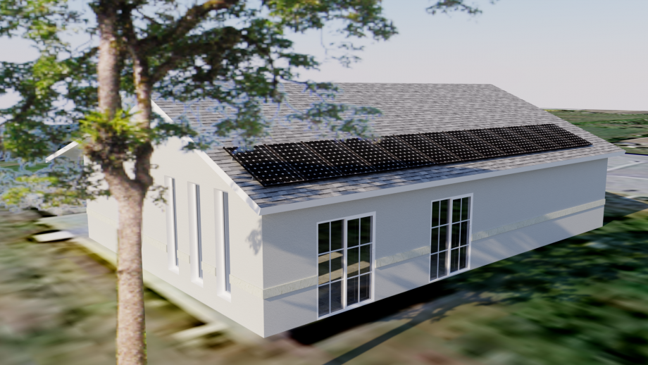 3D Computer Rendering With Shading of Solar Panels