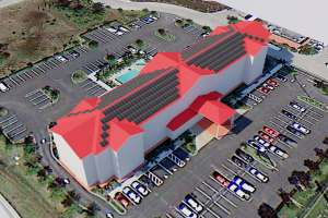 Solar Panels on Hotel in 3D