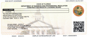 Florida Solar Design Group Solar Contractor License