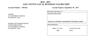 Florida Solar Design Group Local Business Tax Receipt