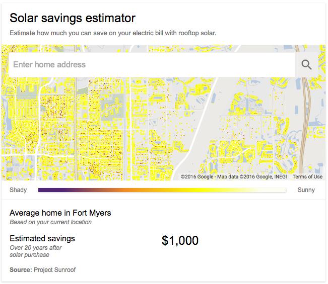 project sunroof solar savings estimator