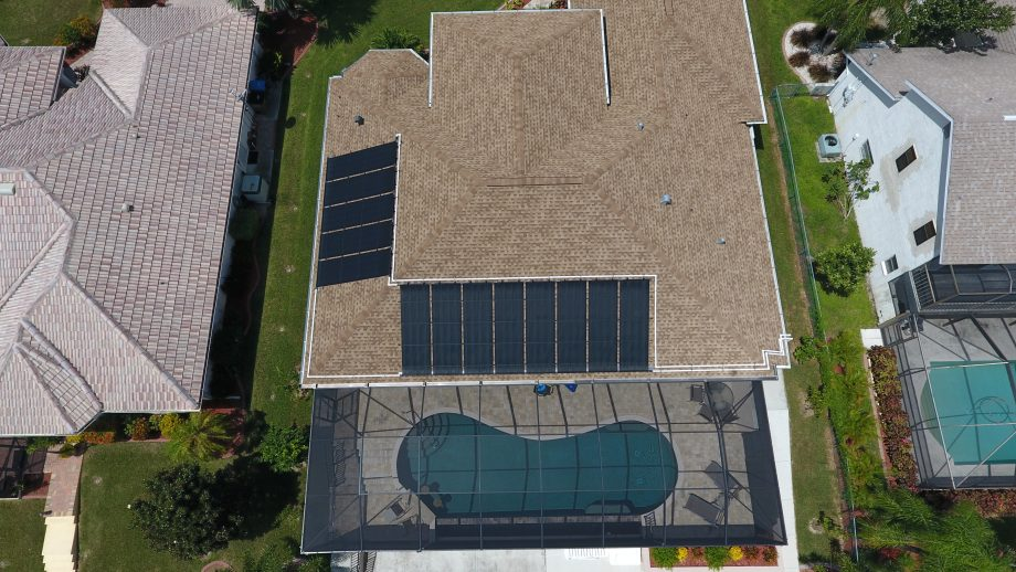 Aerial Photo of a Solar Poole Heating System Taken with a UAS Drone