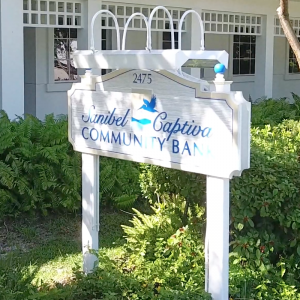 Sign at Sanibel Captiva Community Bank, Library Way, Sanibel, FL