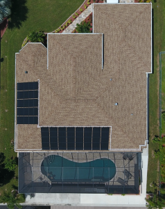 A solar pool heater aerial image