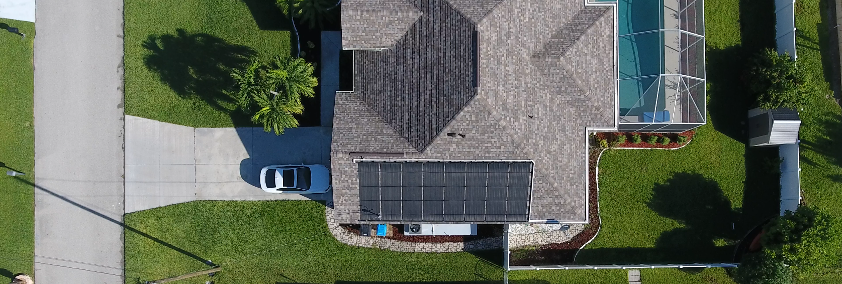 Solar Pool Heating Aerial Picture from Drone