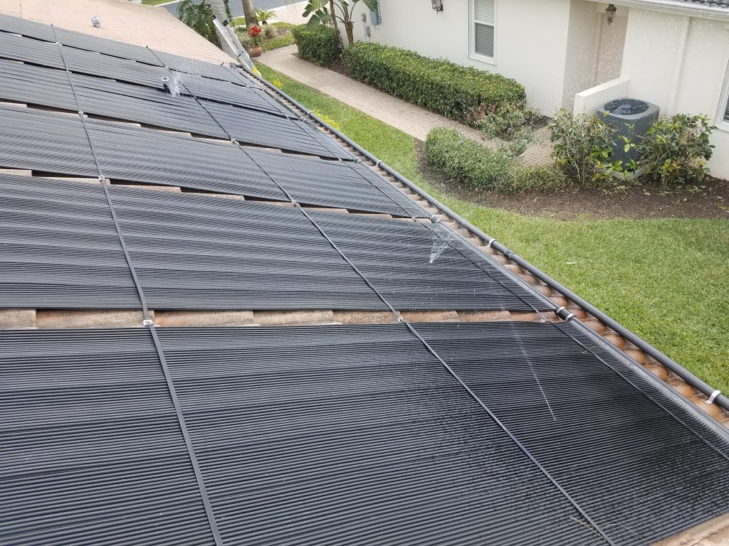 Solar Pool Panels Spraying Water After Fire Damage