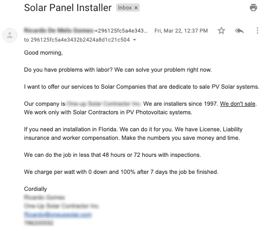 Solar Subcontractor Offering Services