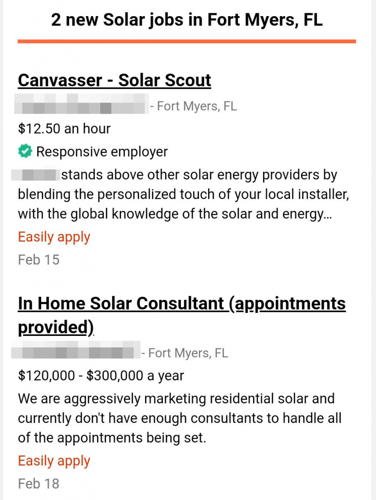 Job Advertisement for sleazy solar sales jobs